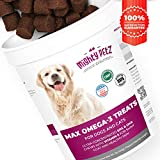 MAX Fish Oil for Dogs - Omega 3 Chews for Allergy Support + Dry Itchy Skin Relief + Shiny Coat + Natural Hip Joint Supplement. Rich in EPA & DHA + Vitamin E for Best Absorption. 100 Treats for Pets