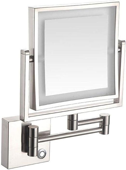 LSYOA 8in Montado Pared Espejo Aumento, LED Espejo de Baño Giratorio de 360 Grados Cara Doble Plegable Espejo Maquillaje Cuadrado Luz Ajustable,Nickel Brushed_3X: Amazon.es: Hogar