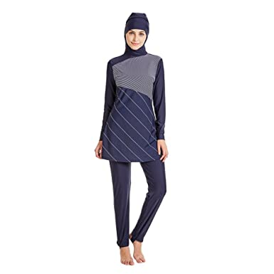 ace9503dbdabc YONGSEN Muslim Swimwear Women Modest Patchwork Full Cover Long Sleeve Swimsuit  Islamic Hijab Islam Burkinis Wear