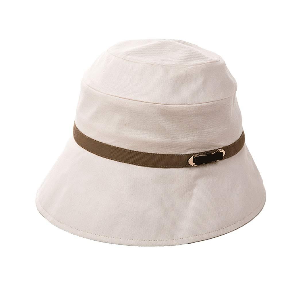 コットンキャップ女性の夏のUVバイザー漁師の帽子旅行折りたたみ太陽の帽子 57-58cm ライトベージュ B07PM2LVYD