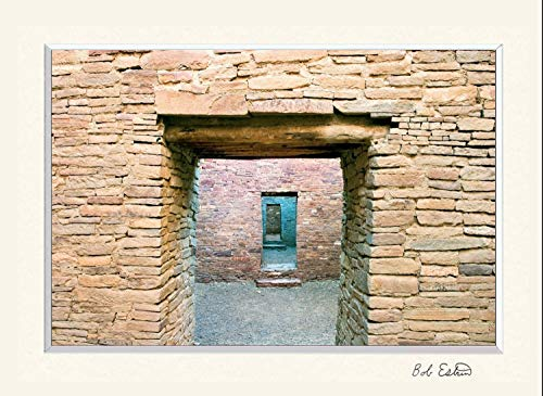 16 x 20 mat including photograph of stone walls and doors, Pueblo Bonito Ruin at Chaco Canyon, NM