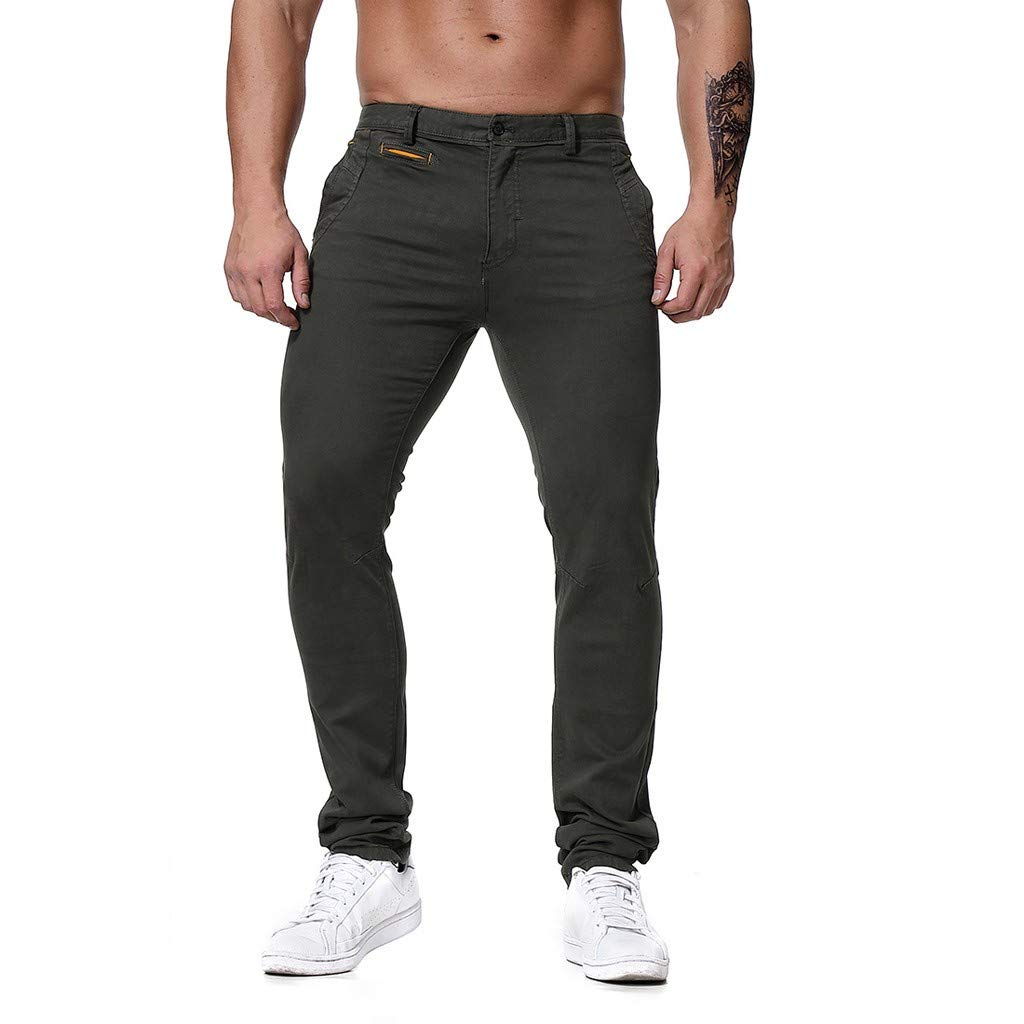 Men's Regular Fit Lightweight Comfort Casual Travel Tech Pants Jogger with Pocket (Asian Size:XL, Army Green)