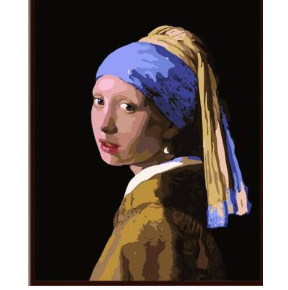 Chica Johannes Vermeer con un Pendiente de Perla Juegos de Pintura por n/úmeros para Adultos DIY 40X50Cm Sin Marco
