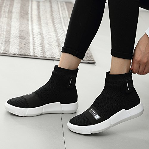 TIOSEBON Womens Slip-on Athletic High-Top Fashion Sneakers Flexible Sock Ankle Boots Breathable Walking Shoes 6520 Black Du2hQr