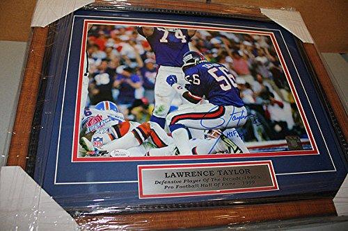 New York Giants Lawrence Taylor Signed Framed 11x14 Photo Sack Pose Hof 99 JSA!