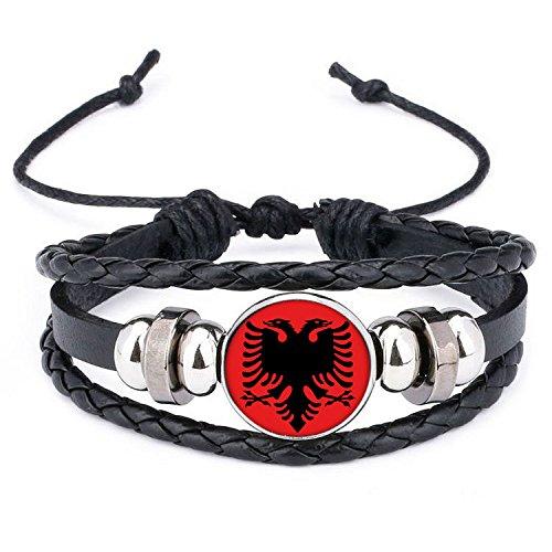 Ndier Armbänder von Albanien Silikon Wristband und Ein Leder Gewebt PU Armband Geflochten für 2018Weltmeisterschaft