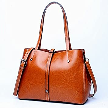12381da1f252 Image Unavailable. SGJFZD Women s Handbag Leather Shoulder Leather Fashion  Design Shopping Bag Simple and Practical Ladies Big Bag