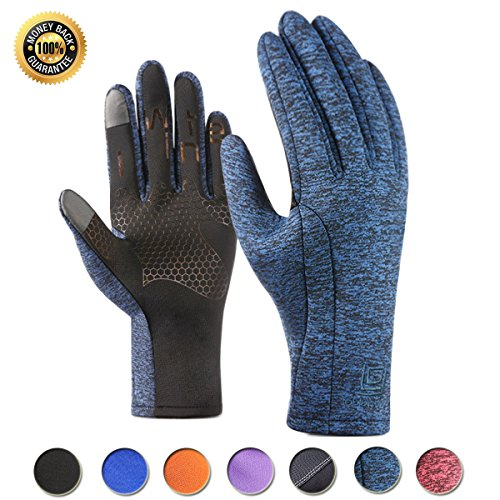 Winter Touchscreen Gloves for Men and Women Waterproof Cycling Driving Anti-Slip Sports Outdoor Gloves (Blue, L)