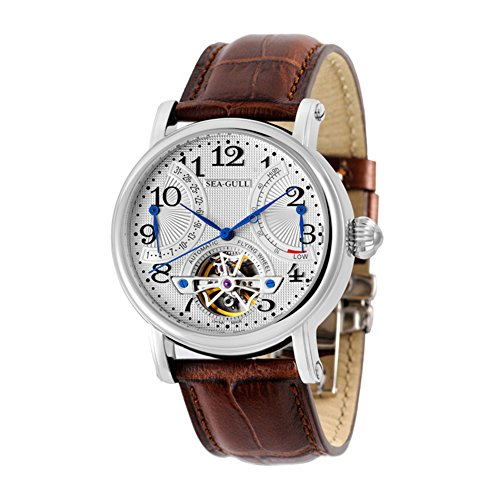 New Seagull M172s Automatic Mechanical Watch Flywheel month Date power Reserve Indicator sliver Rotor black Strap