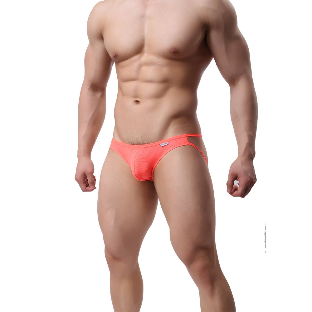 MuscleMate Hot Men's Thong G-String Men's Comfort Underwear Jockstrap Men's Hot Undie (M, Orang)