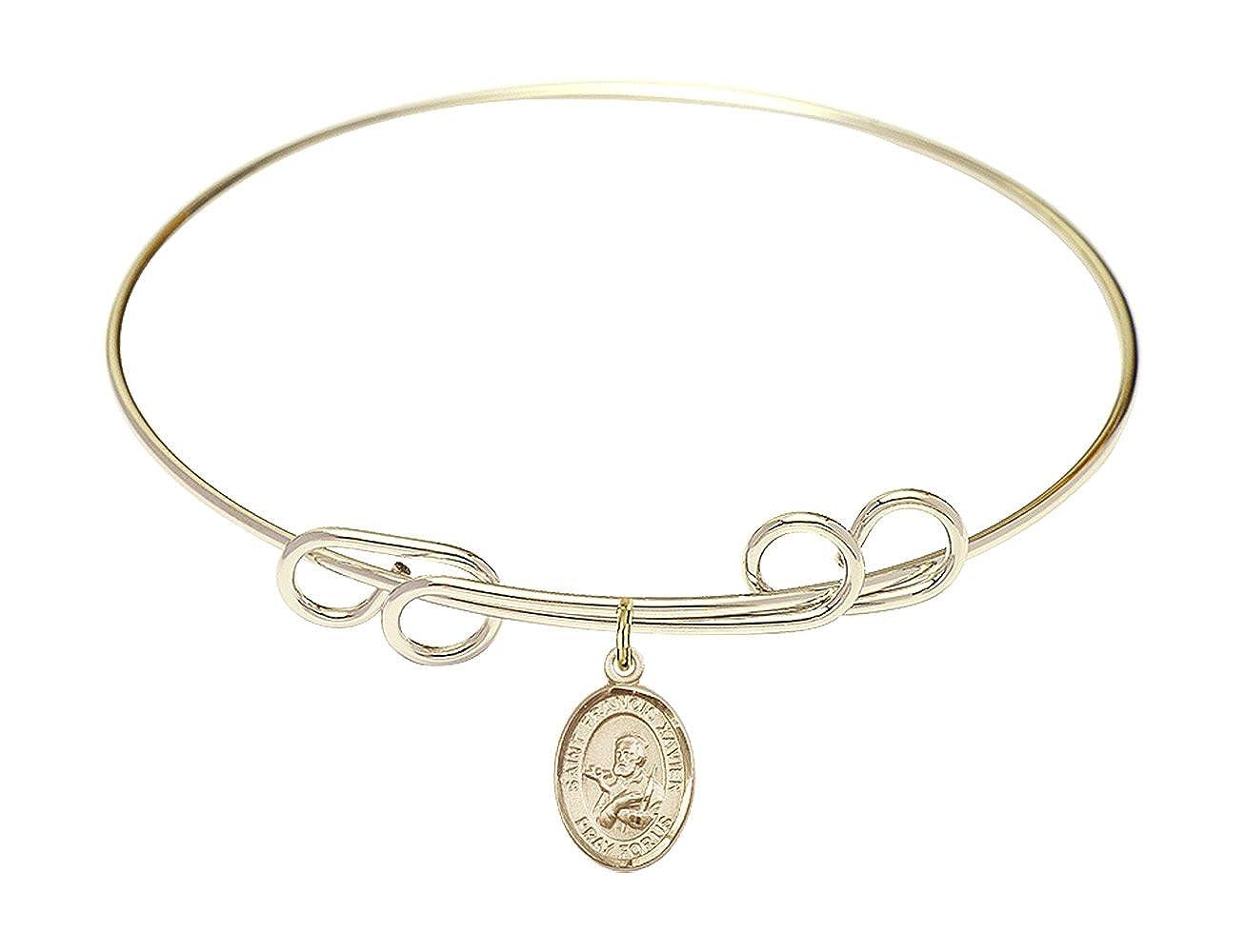 Francis Xavier Charm. DiamondJewelryNY Double Loop Bangle Bracelet with a St