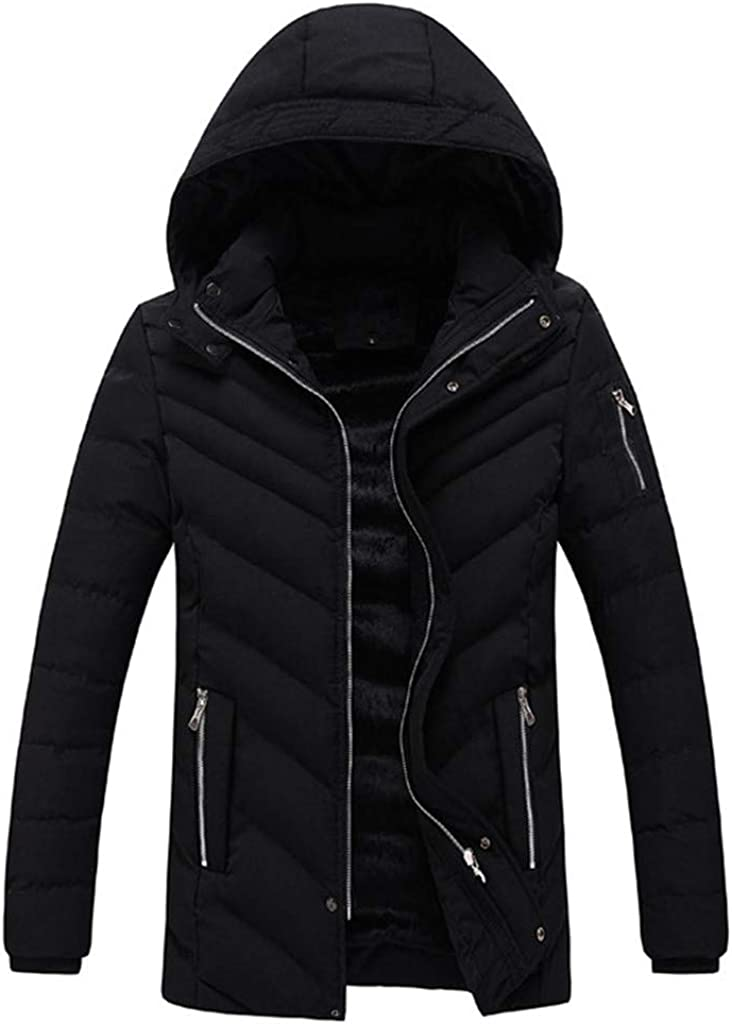 Dempuss Men Winter Warm Solid Fleece Coat Hooded Zipped Thick Loose Cotton-Padded Jacket Outwear