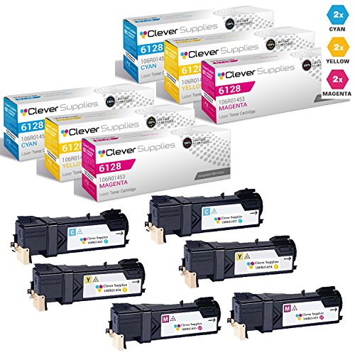 CS Compatible Toner Cartridge Replacement Xerox 6128 106R01452 Cyan 106R01453 Magenta 106R01454 Yellow for Phaser 6128 Phaser 6128MFP Phaser 6128MFP/N 6 Set Color