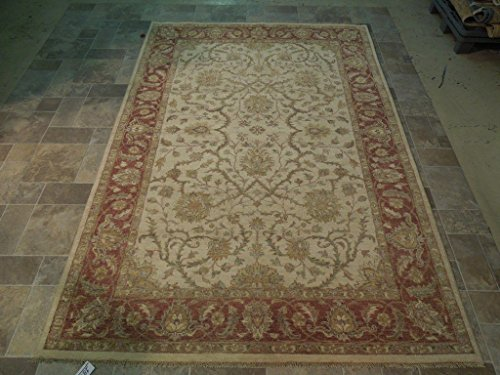 Chobi Carpet - Beige-Desert Sand 6x9 Vegetable Dyed Rug Hand Knotted Chobi Wool Carpet