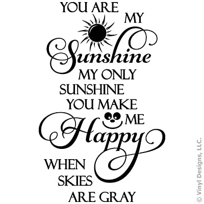 You Are My Sunshine, Happy Quote Vinyl Wall Decal Sticker Art, Removable Home Decor