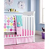 Pink Baby Girls 4pcs Crib Bedding Set (without bumpers) 1)quilt,1)fitted sheet,1)dust ruffle,1)fleece blanket