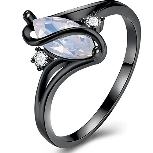 BEMI Elegant Womens S Promise Ring Graduation Gift Engagement White Lab Opal Black Gold Party Rings (Beautiful Promise Rings)