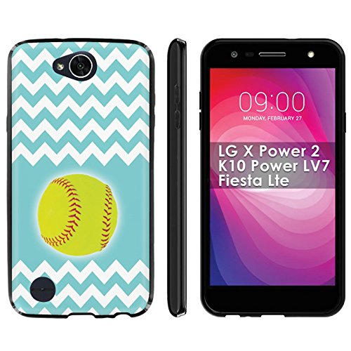 ([LG X Power2] [LG Fiesta] [LV7] Phone Case [ArmorXtreme] [Black] Designer Image [Flexi Gel TPU] Screen Protector- [SoftBall Teal Chevron] for LG X Power 2/K10 Power LV7/Fiesta Lte)