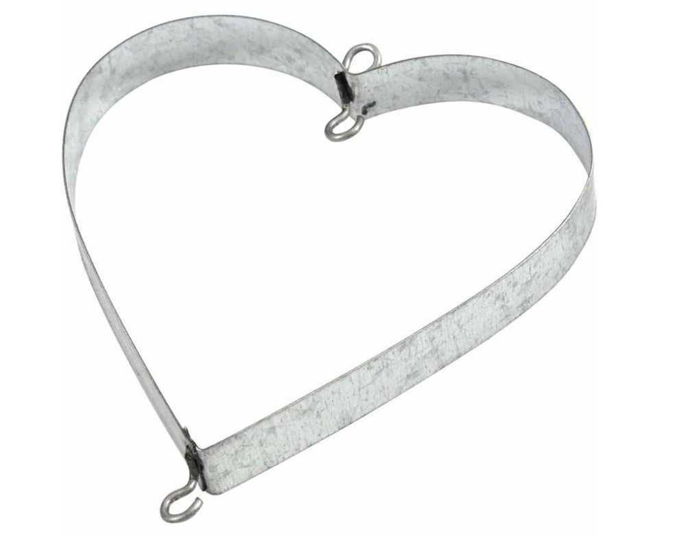 6 Galvanised Metal Hearts with Hooks for Crafts - 7cm | Metal Wire & Craft Hoops Crafty Capers