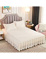 JAUXIO Diamond Quilted Velvet Bedspread Three Sides 18 Inches Deep Ruffles Drop Fitted Sheet Bed Skirt with Tassels Decorative Fringe (Cream, Queen)