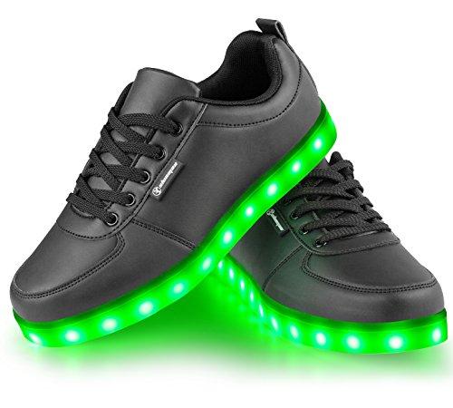 Shinmax Colori Il Regalo da per Promenade Certificato di Giorno con LED USB Lampeggiante Unisex 7 Scarpe Scarpe di CE Nero Tennis Natale con Luci Partito del Carica del 4 rPaXxq8rw