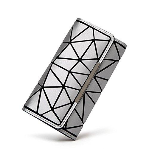 Standard Clutch Perches - Betrocka Wallet Diamond Lattice Standard 3 Fold Long Hand Luminous Clutch as how9