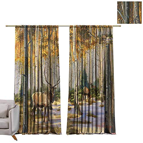 - berrly Decorative Curtains for Living Room Elk in The Forest (3) W72 x L96 Customized Curtains