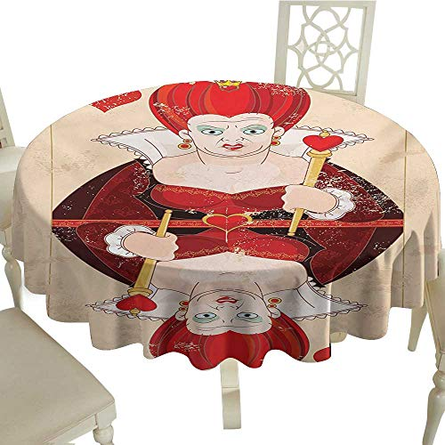 (cobeDecor Fabric Dust-Proof Table Cover Alice in Wonderland Queen Cards Playing Alice Character in Fictional Fairy Tale Print D54 Red Brown)