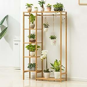 Balcony wooden living room flowerpot rack hundred step style flower racks-A