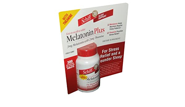 Amazon.com: Schiff Melatonin Pplus 3 mg Melatonin With 25 mg Theanine Dietary Supplement 300 Tablets Per Bottle: Health & Personal Care