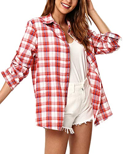 (KENANCY Women's Long Sleeve Classic Plaid Button Down Shirt Soft Roll Up Blouse)
