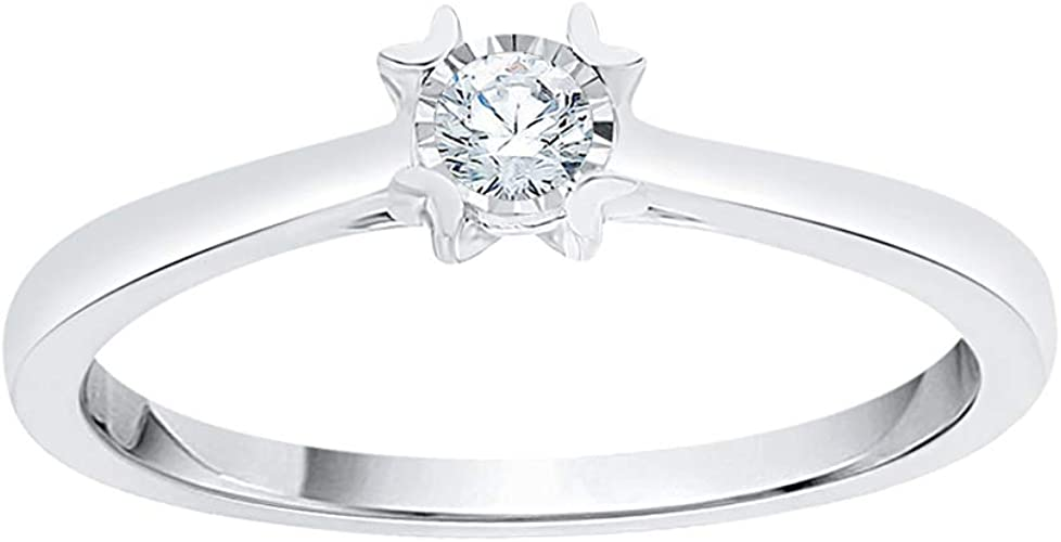 Size-3 1//10 cttw, G-H,I2-I3 Diamond Wedding Band in Sterling Silver