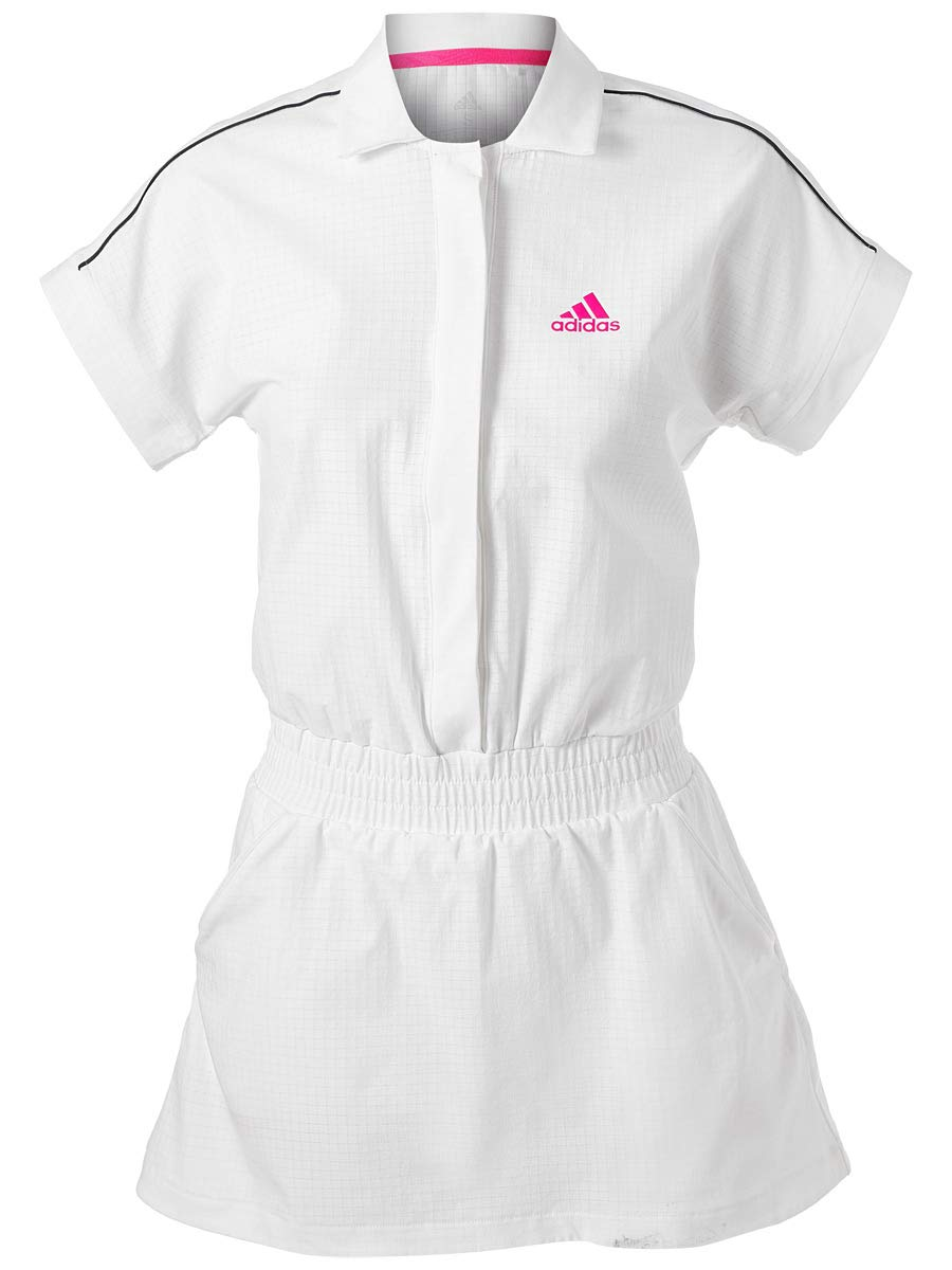 adidas Tennis Seasonal Dress, White/Shock Pink, X-Small