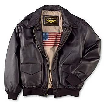 Landing Leathers Men's Air Force A-2 Leather Flight Bomber Jacket - Brown XS
