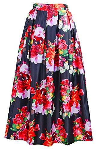 Alaroo Summer Valentine's Day Bouquet Printed Hepburn Style Black Maxi Skirt