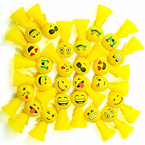 PROLOSO Jumping Emoji Popper Spring Launchers Bouncy Toy Balls 24 Pcs (Yellow Emoji)