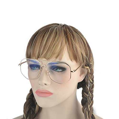 MINCL/Irregular Aviator Metal Frame Street Fashion Designer Clear Lens Sunglasses (gold/clear, - Aviator Lens Clear Sunglasses