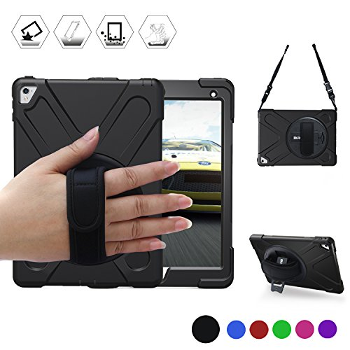 BRAECN iPad Pro 9.7 Case, ipad 9.7 Case [Shockproof] Full-Body Heavy Duty Protective Case with a 360 Degree Swivel Kickstand/a Hand Strap/a Shoulder Strap for Apple iPad Pro 9.7 inch Black
