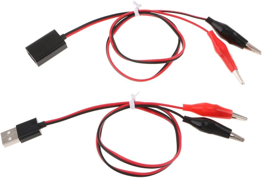 Crocodile Clamp Wire To Female USB Connector Test Leads Copper Alligator MAEK