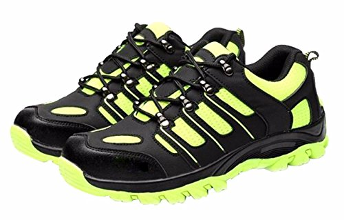 Women's and Men's Outdoor Round Toe Athletic Sport Sneaker Lightweight Walking Trail Safety Shoes Black greenMicrofiber Size US7.5 EU38 by Jiu du