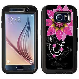 Skin Decal for Otterbox Defender Samsung Galaxy S6 Case - Pink Big Flower on Black
