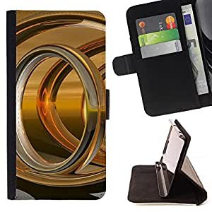 DEVIL CASE - FOR Samsung Galaxy Core Prime - Abstract Gold Ring - Style PU Leather Case Wallet Flip Stand Flap Closure Cover