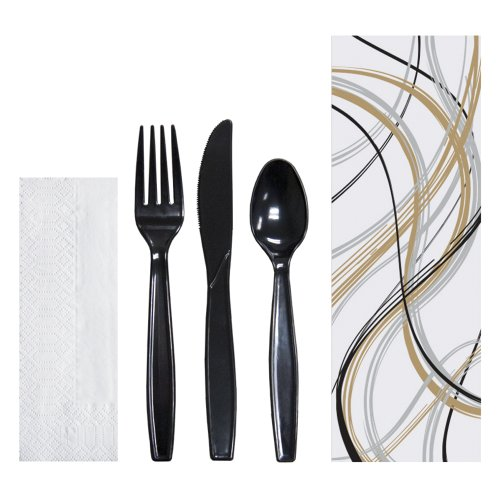 stic Cutlery Pouch with 2 Ply Tissue Napkin and Full Size Plastic Knife, Fork and Spoon, 9-1/2