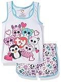 TY Beanie Boo Girls' Little Beanie Boo Sporty Mesh Pajama Short Set, White, 6/6X