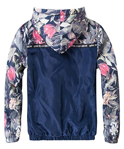 Hop Bomber Chaqueta Los Estilo Navyblau Hombres Hombres con De Sudaderas Jacket Floral Fit Pilot Simple Coat Bomber Capucha Gruesa De Los Hip Casual Hombres Chaqueta Los De Slim Floral Y8xYwPqr