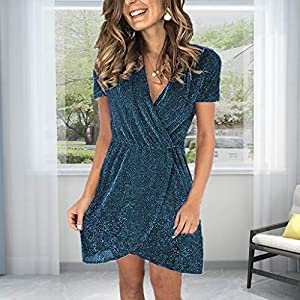 LOPILY Women Sequin Dress V-Neck Short Sleeve Clubwear Mini Dress Irregular Tummy Control High Waist Nightclub Tunic Dress