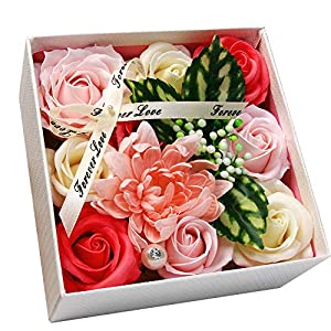 Aarbvlle Artificial Carnation Flower, Bath Soap Carnation Flower Gift Set for Women, Organic & Natural Soap Flowers in Luxurious Gift Box, Perfect Handmade Mom's Day Gift, Birthday Gift 42