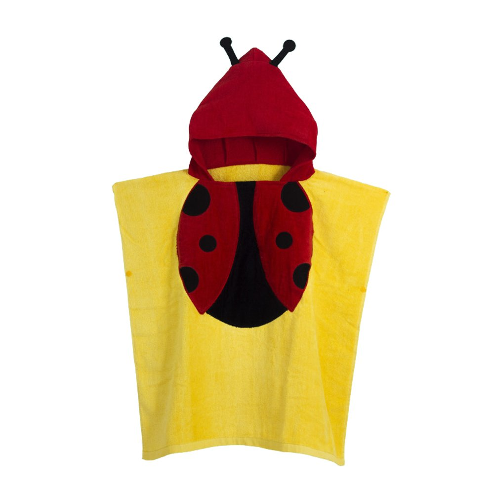 Misslight Hooded Beach Towel Cute Animal Premium Cotton Hooded Poncho Beach Pool Bath Towel for Kids (Yellow Beetle, 60120cm)