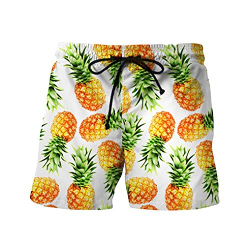 TOOPOOT Summer Men Sweatpants,Pineapple Printed Trousers Jogging Outdoor Fitness Running Casual Beach Shorts Pants (XL-(Asin XL=US Size L), Yellow) ()