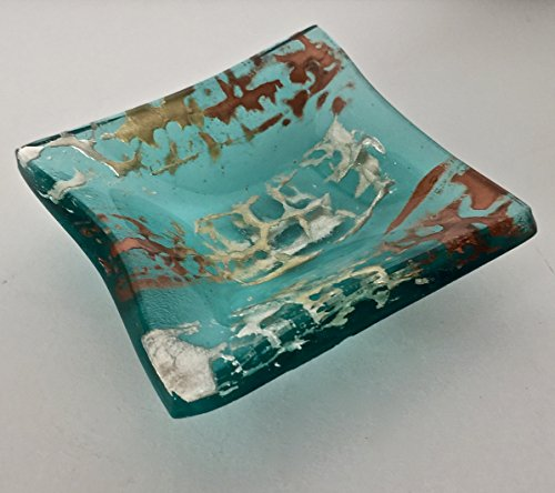 Metallic Copper, Gold and Silver Accents on a Transparent Aqua Blue Kiln-Fired Small Art Glass Square Bowl